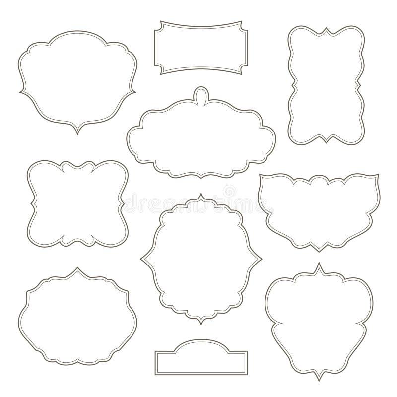 Винтажные рамки изолированные на белой предпосылке иллюстрация штока