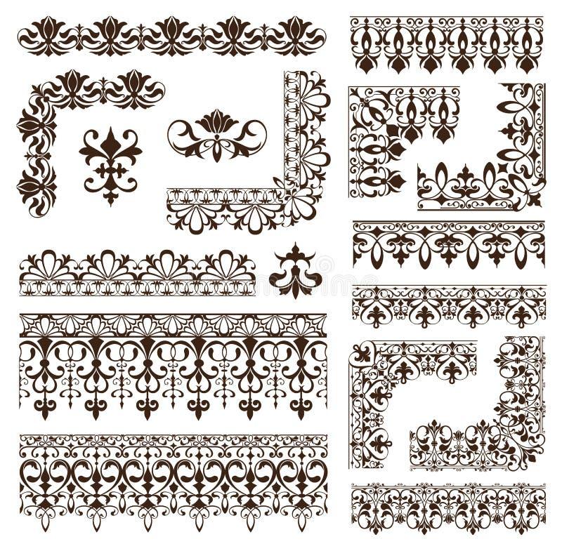 Винтажные рамки, углы, границы с чувствительными свирлями в искусстве Nouveau для украшения и проектные работы с флористическим s иллюстрация вектора