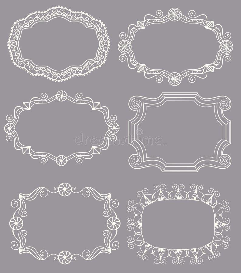 Винтажные рамки шнурка иллюстрация вектора