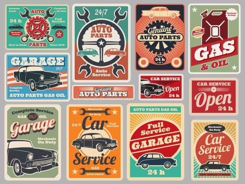 Винтажные ремонтные услуги дорожного транспортного средства, бензоколонка, вектор гаража автомобиля подписывают бесплатная иллюстрация