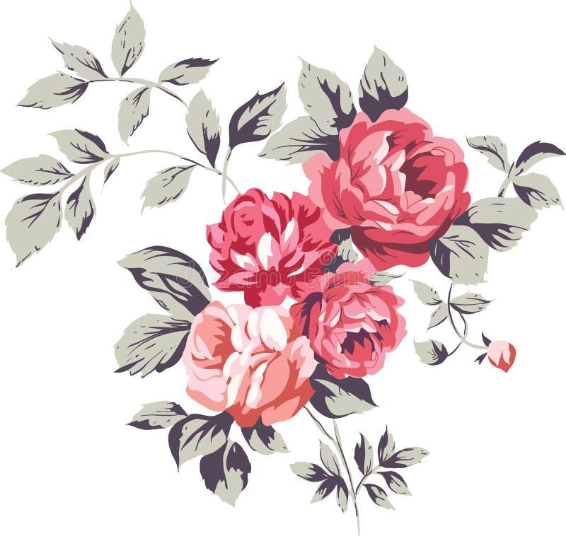 Винтажные розовые розы иллюстрация вектора