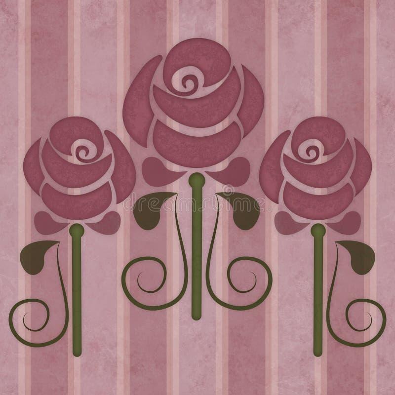 Винтажные розы в стиле nouveau искусства на увяданной striped предпосылке иллюстрация вектора