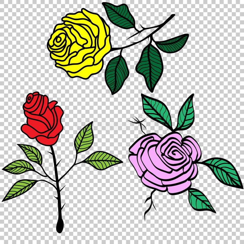 Винтажные розы установили иллюстрацию вектора татуировки бесплатная иллюстрация
