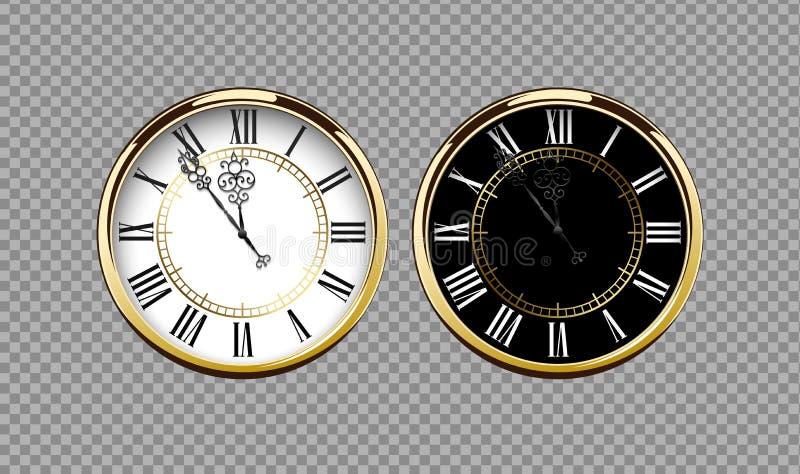 Винтажные роскошные золотые настенные часы с римскими номерами изолированными на прозрачной предпосылке Реалистический черно-белы иллюстрация штока