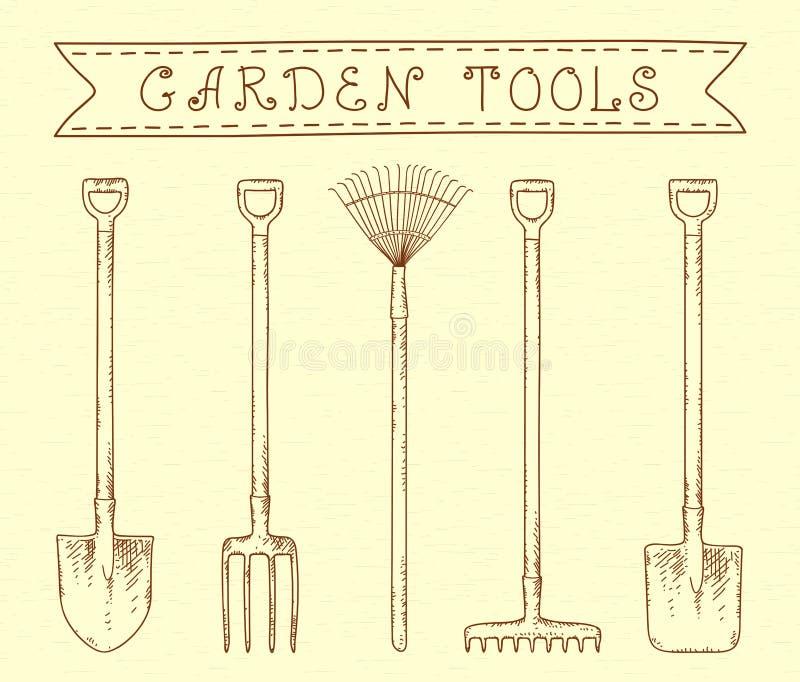 Винтажные садовые инструменты бесплатная иллюстрация