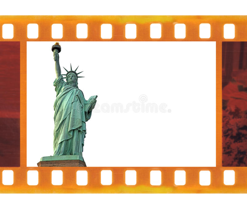 Винтажные старые 35mm кадр фильм фото с статуей свободы NY, США бесплатная иллюстрация
