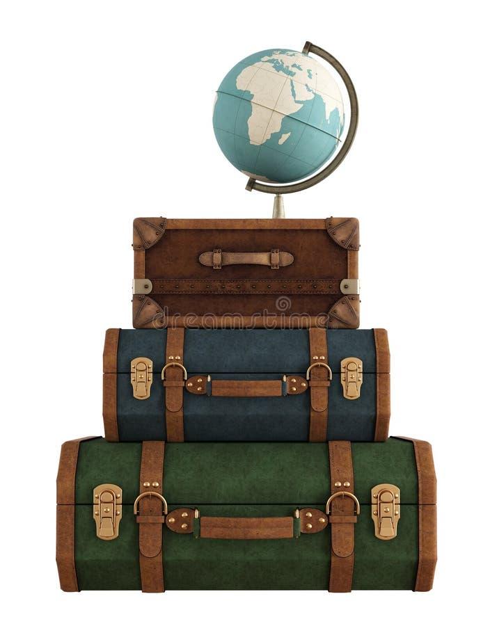 Винтажные сумки перемещения на белизне бесплатная иллюстрация