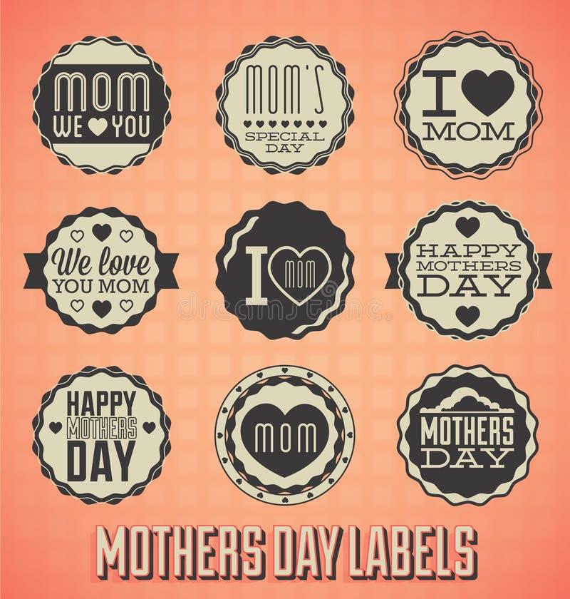 Винтажные счастливые ярлыки и значки дня матерей бесплатная иллюстрация