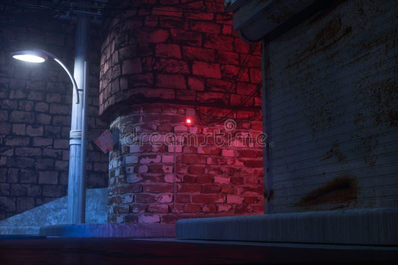Винтажные улицы с красочными светами вечером, перевод 3d иллюстрация штока