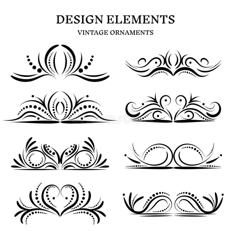 Винтажные установленные орнаменты дизайна иллюстрация вектора