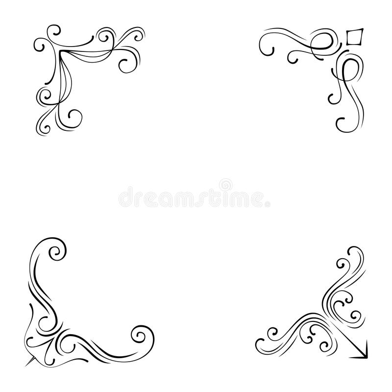 Винтажные установленные углы и границы элементов дизайна стиля также вектор иллюстрации притяжки corel иллюстрация вектора