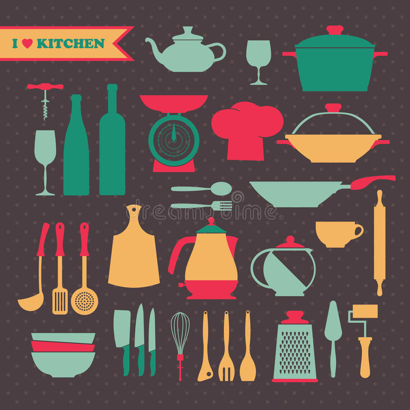 Винтажные установленные значки блюд кухни иллюстрация штока