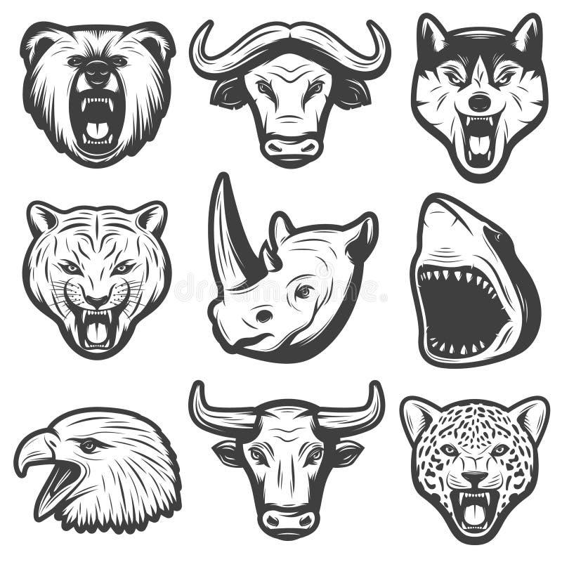 Винтажные установленные дикие животные бесплатная иллюстрация