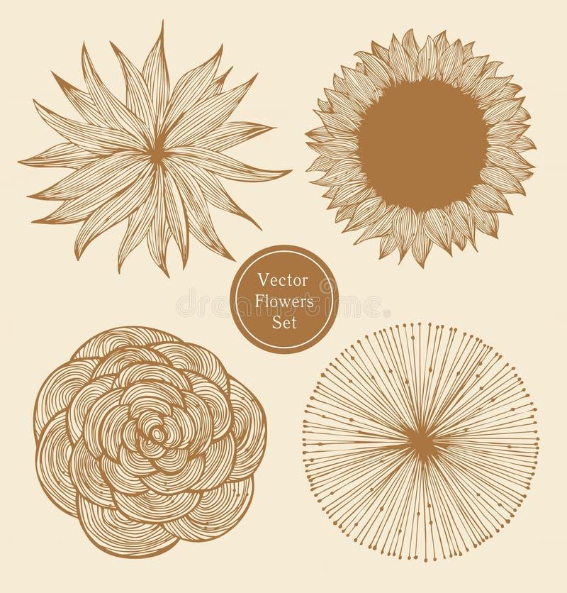 Винтажные установленные цветки бесплатная иллюстрация