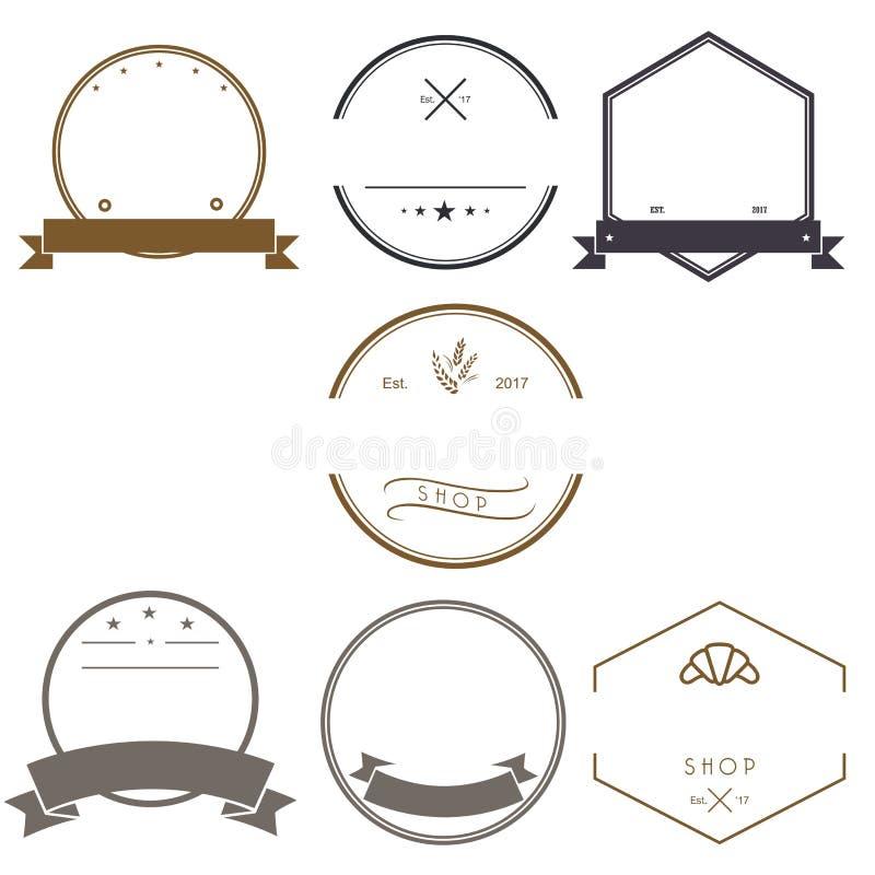 Винтажные установленные шаблоны дизайна логотипов Пустые логотипы собрание, символы значков, ретро ярлыки, вектор значков бесплатная иллюстрация