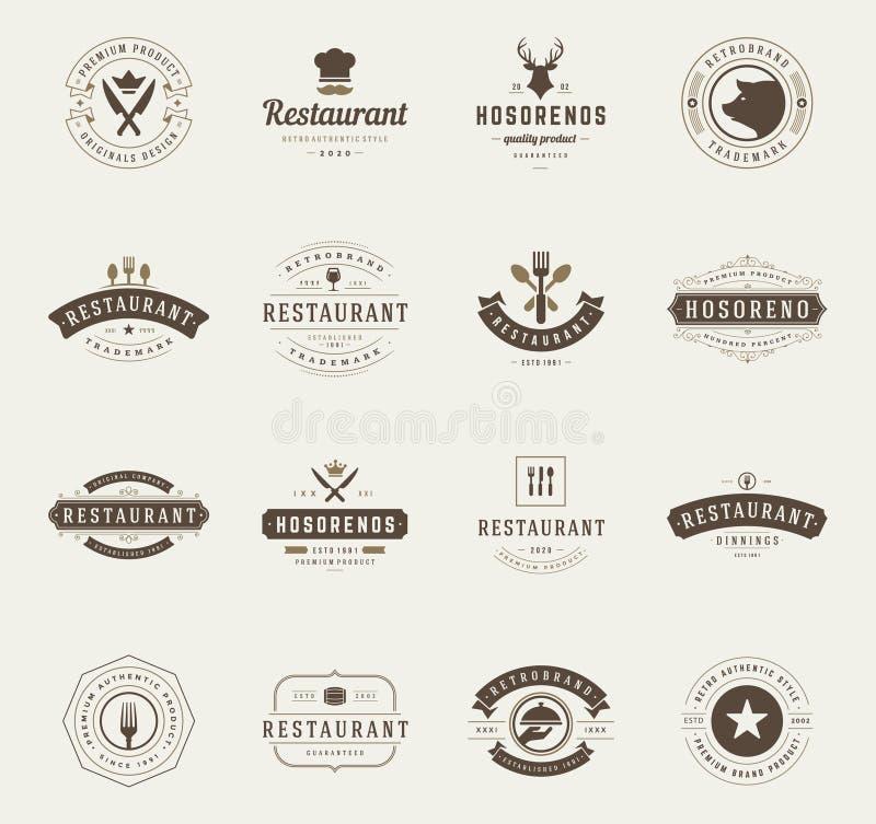 Винтажные установленные шаблоны дизайна логотипов ресторана иллюстрация вектора
