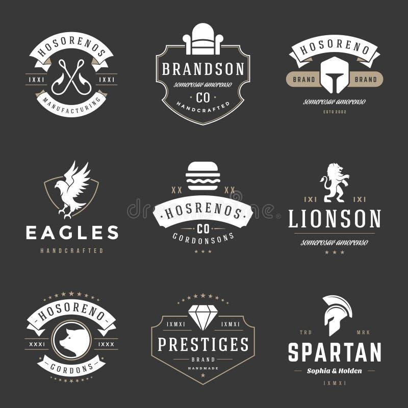 Винтажные установленные шаблоны дизайна логотипов Собрание элементов логотипов вектора иллюстрация вектора