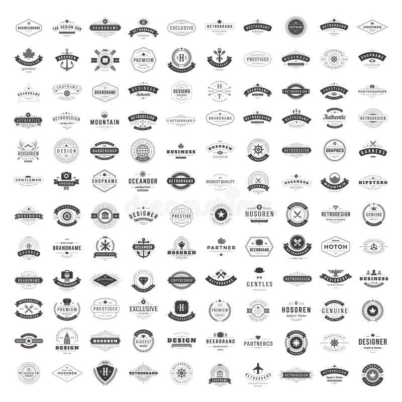 Винтажные установленные шаблоны дизайна логотипов Собрание элементов логотипов вектора иллюстрация штока