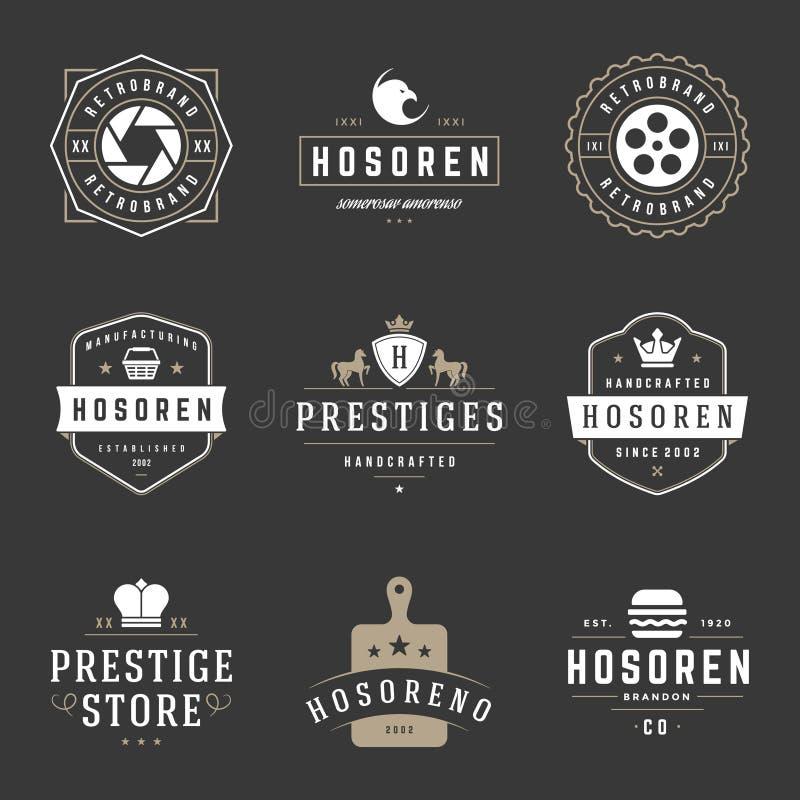 Винтажные установленные шаблоны дизайна логотипов Элементы дизайна вектора, элементы логотипа иллюстрация штока