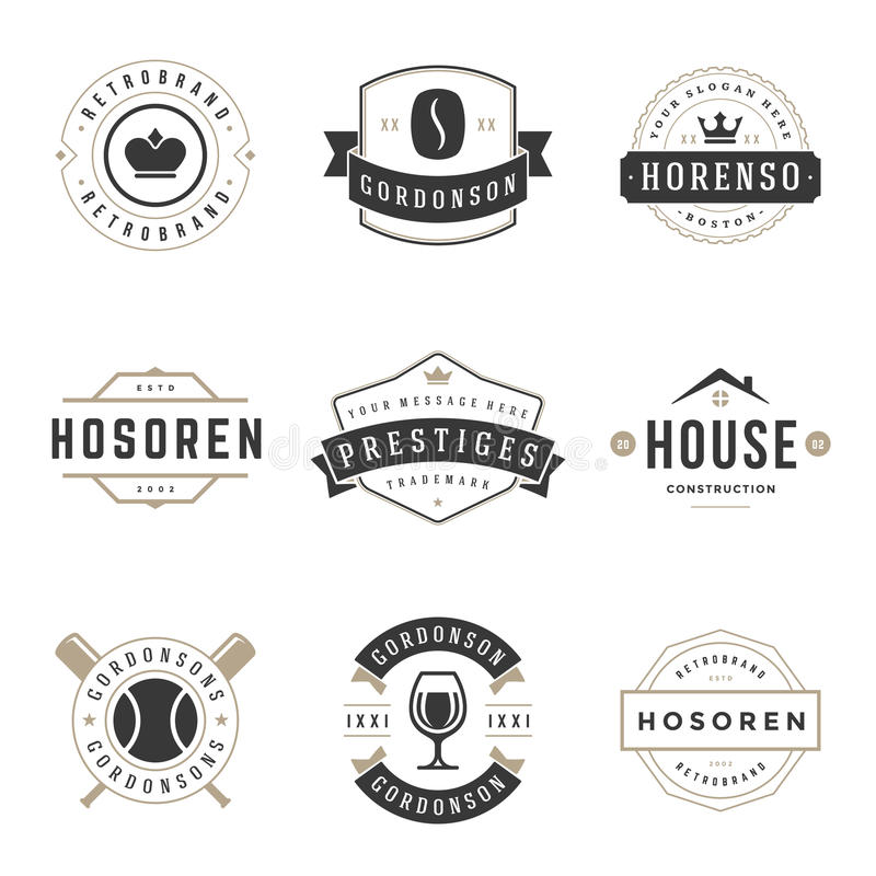 Винтажные установленные шаблоны дизайна логотипов иллюстрация штока