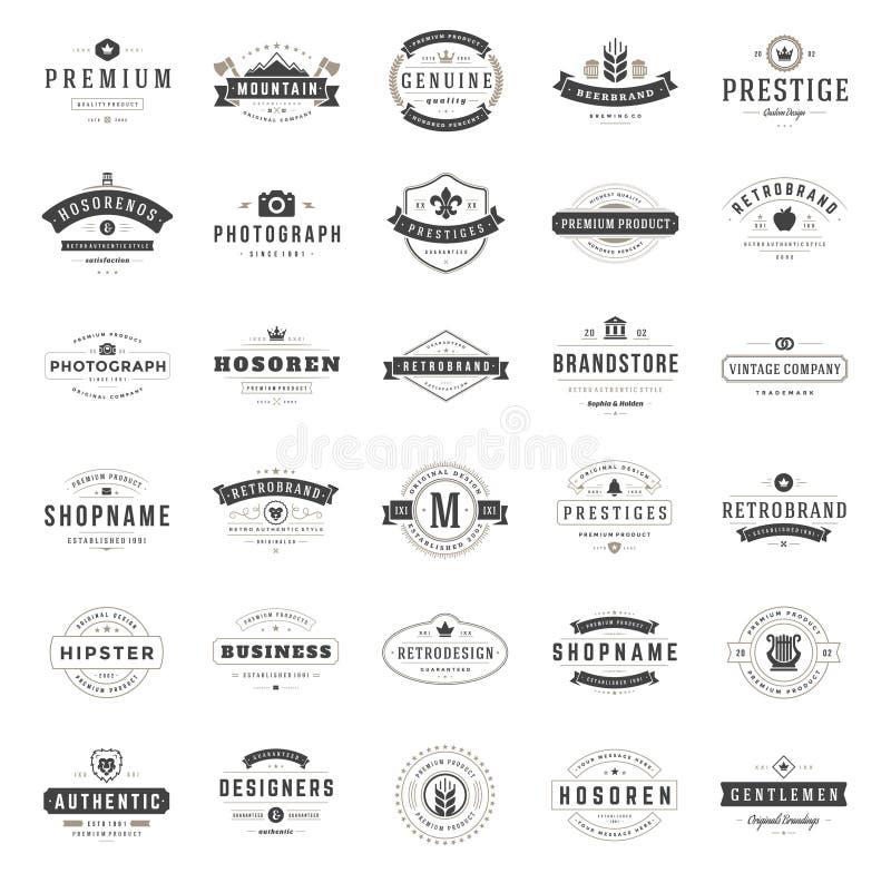 Винтажные установленные шаблоны дизайна логотипов иллюстрация вектора