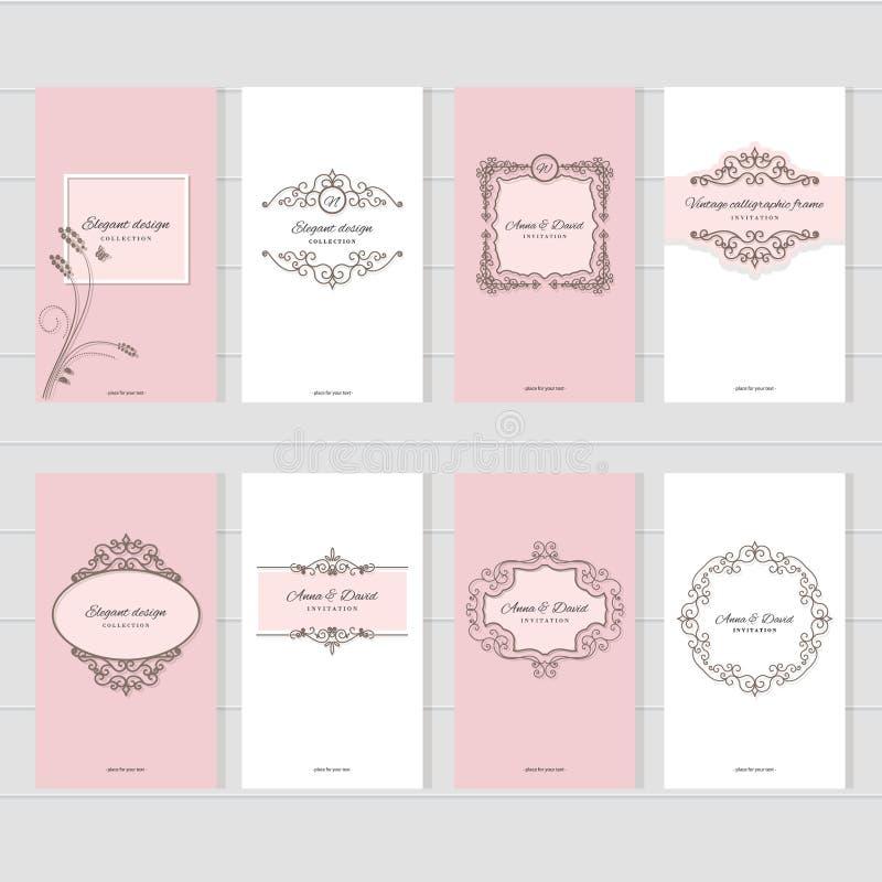 Винтажные установленные шаблоны карточки Для wedding приглашений, элегантные поздравительные открытки, брошюры индустрии красоты  иллюстрация вектора