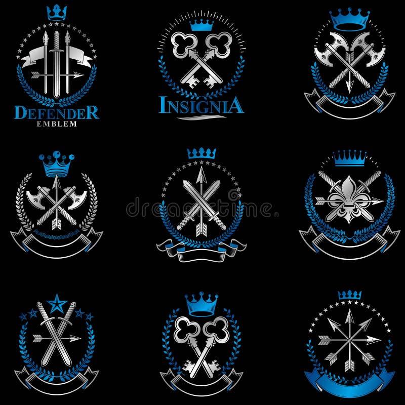 Винтажные установленные эмблемы оружия Винтажное colle элементов дизайна вектора иллюстрация вектора