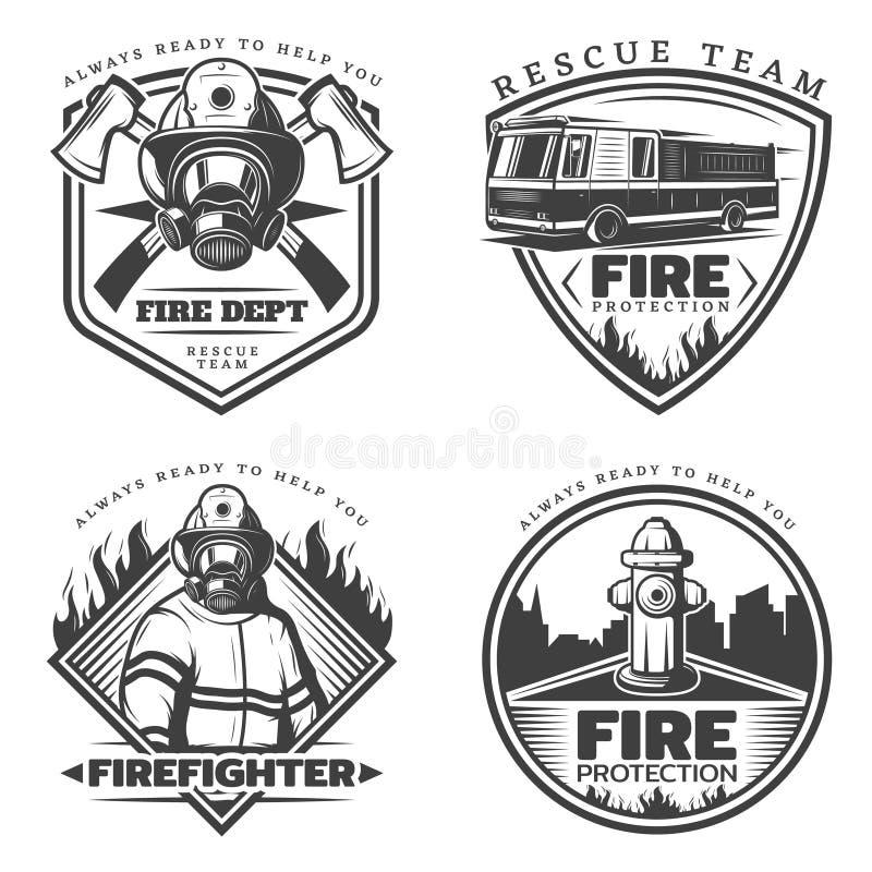 Винтажные установленные эмблемы Firefighting бесплатная иллюстрация