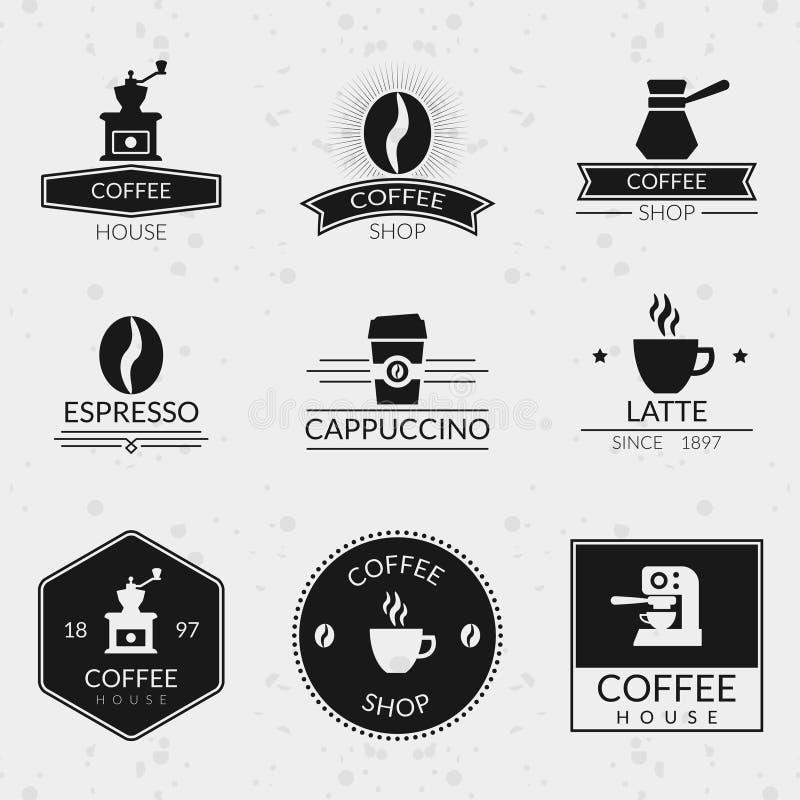 Винтажные установленные ярлыки и логотипы вектора кофе бесплатная иллюстрация