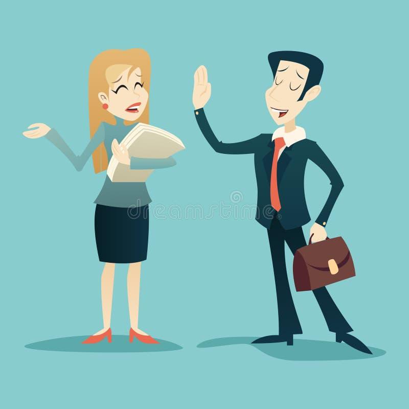 Винтажные характеры бизнесмена и коммерсантки бесплатная иллюстрация