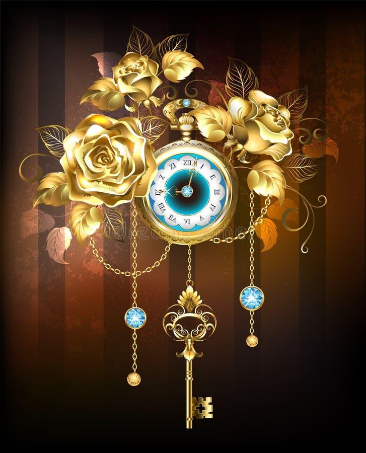 Винтажные часы с розами золота иллюстрация штока