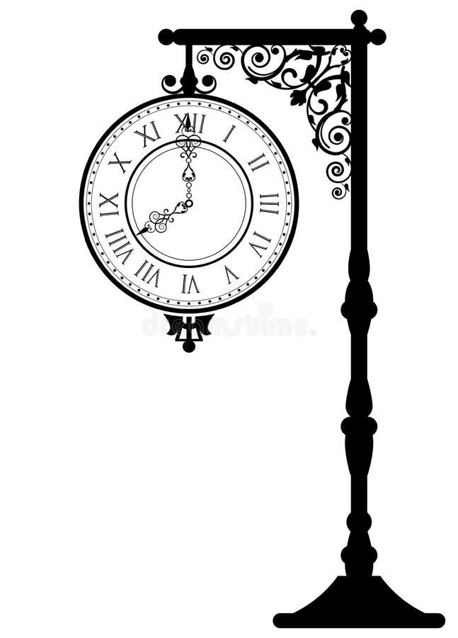 Винтажные часы улицы иллюстрация вектора