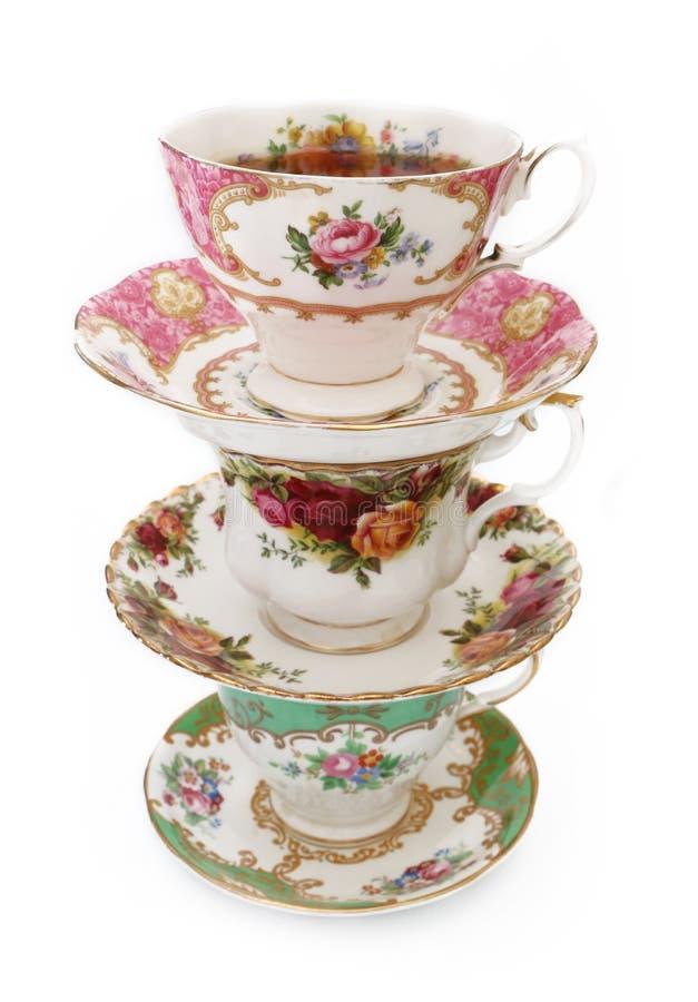 Винтажные чашки чая стоковые фото