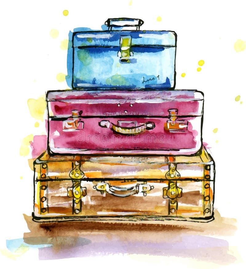 Винтажные чемоданы в стиле эскиза иллюстрация вектора