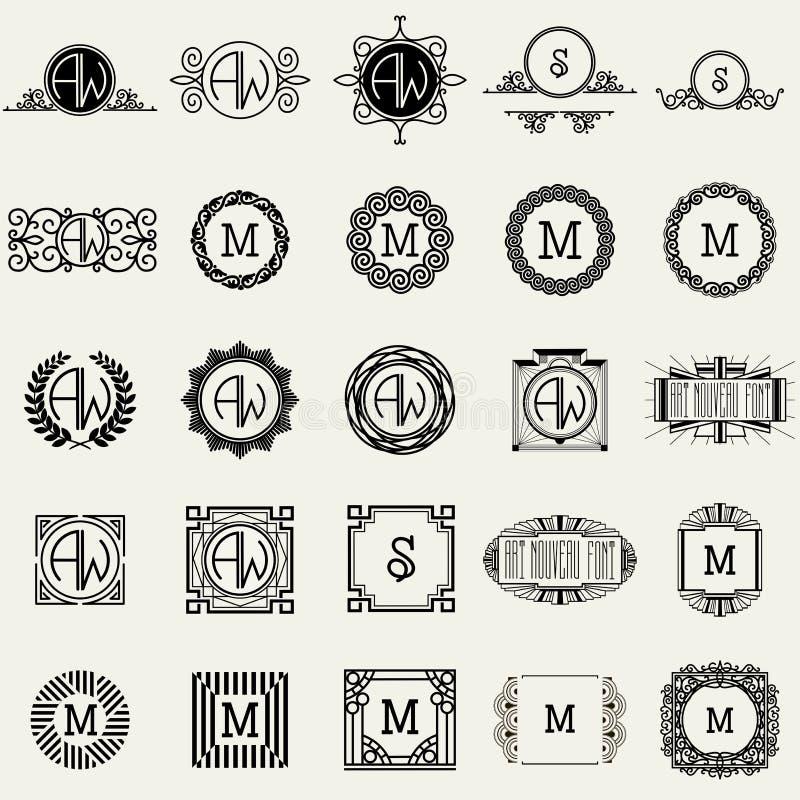 Винтажные шаблоны дизайна вензеля Символы значков, ретро ярлыки, значки, силуэты бесплатная иллюстрация