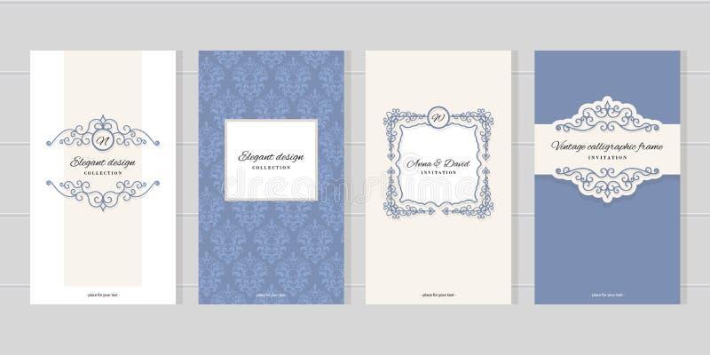 Винтажные шаблоны карточки Для wedding приглашений, брошюры индустрии красоты конструируют иллюстрация вектора