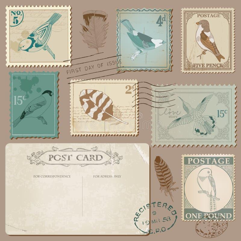 Винтажные штемпеля почтового сбора с птицами иллюстрация штока