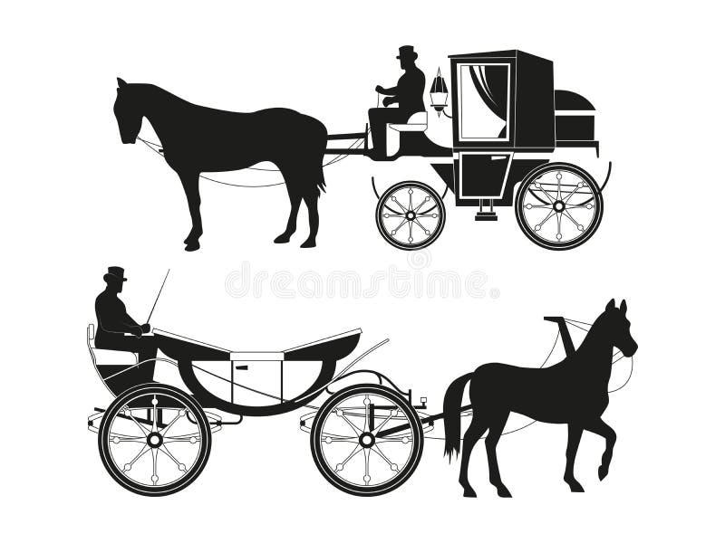 Винтажные экипажи с лошадями Изображения вектора ретро перехода сказки иллюстрация вектора