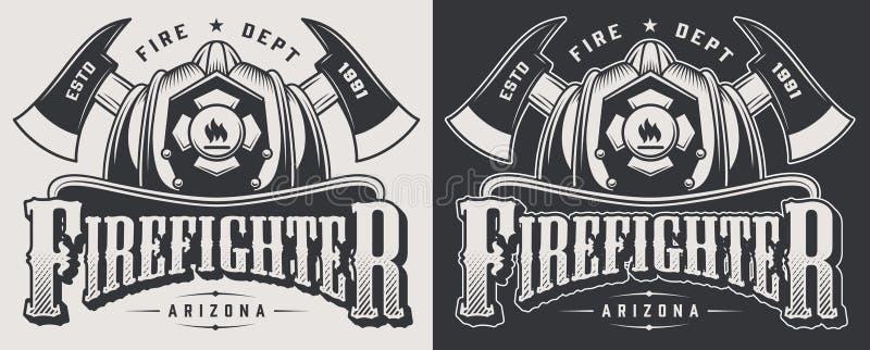 Винтажные эмблемы firefighting иллюстрация штока