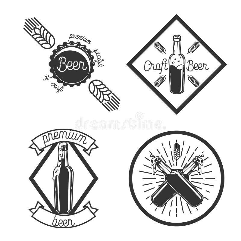 Винтажные эмблемы винзавода пива иллюстрация штока