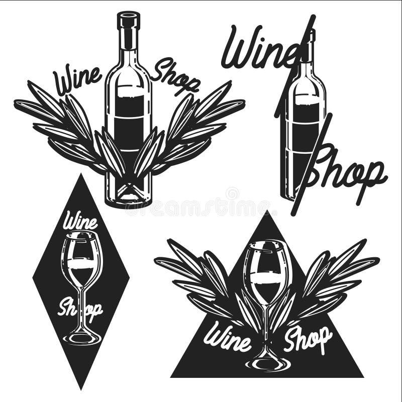 Винтажные эмблемы винного магазина бесплатная иллюстрация