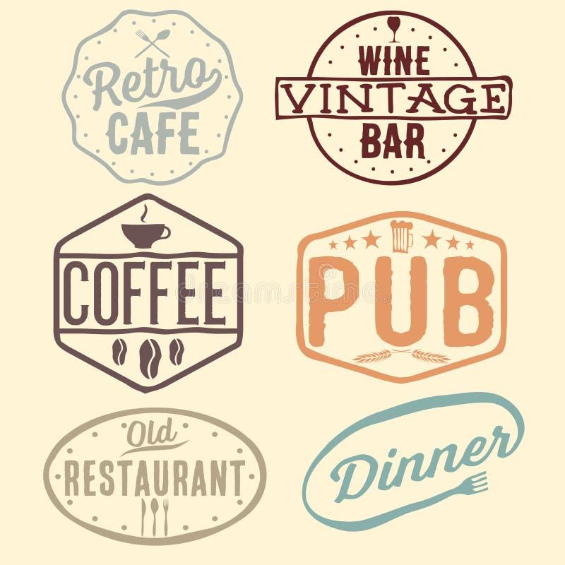 винтажные эмблемы кафа, паба, винного бара и ресторана иллюстрация штока