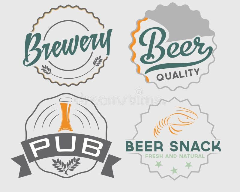 винтажные эмблемы пива иллюстрация вектора