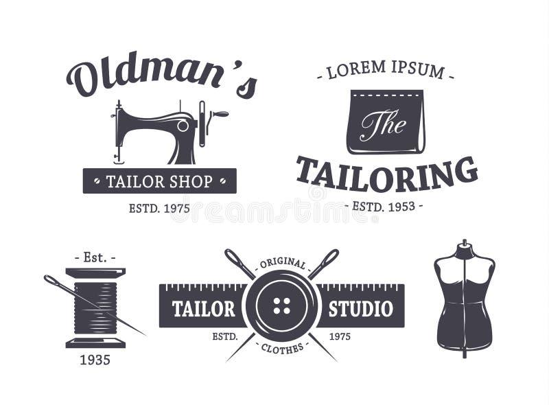 Винтажные эмблемы портноя иллюстрация штока