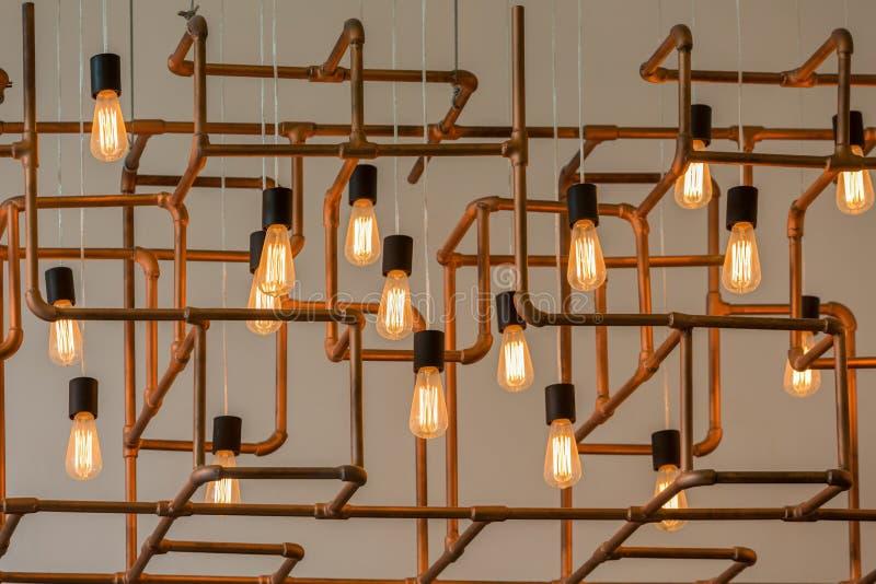 Винтажные электрические лампочки стиля стоковое фото