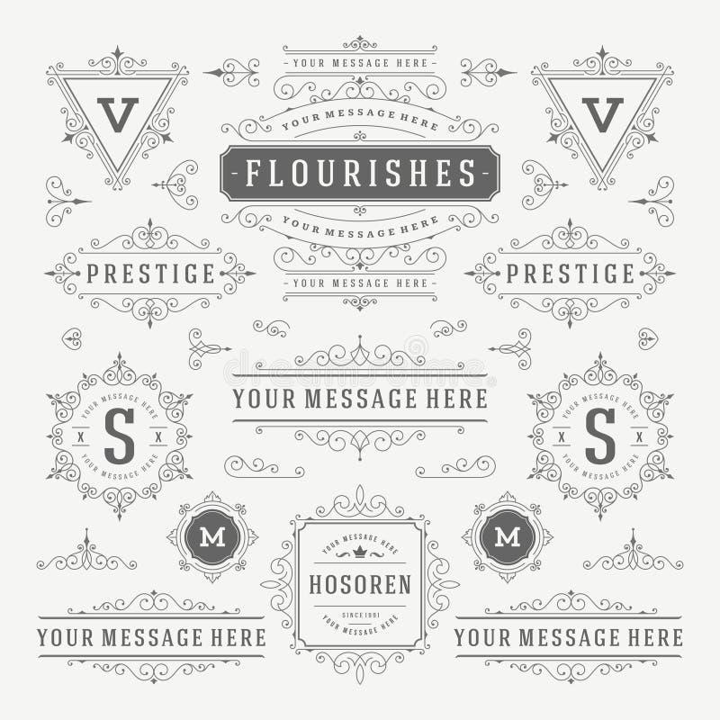 Винтажные элементы дизайна украшений орнаментов вектора Расцветает логотипы каллиграфических комбинаций ретро иллюстрация вектора