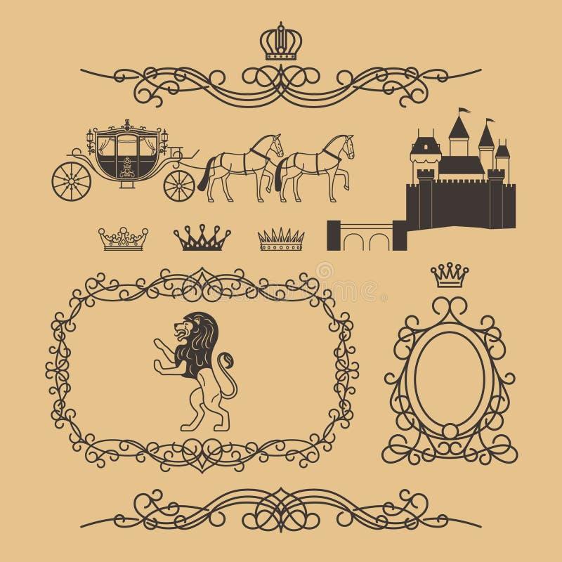 Винтажные элементы королевских и принцессы оформления иллюстрация штока