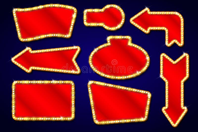 Винтажные элементы с электрическими лампочками, выставка дизайна Лас-Вегас, кинозвезды, рамки, граничат символы вектора бесплатная иллюстрация
