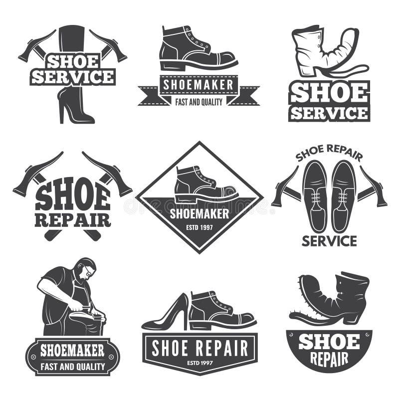 Винтажные ярлыки и логотипы monochrome для ботинка ремонтируют мастерскую иллюстрация штока
