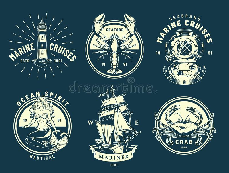Винтажные ярлыки морского пехотинца и моря бесплатная иллюстрация